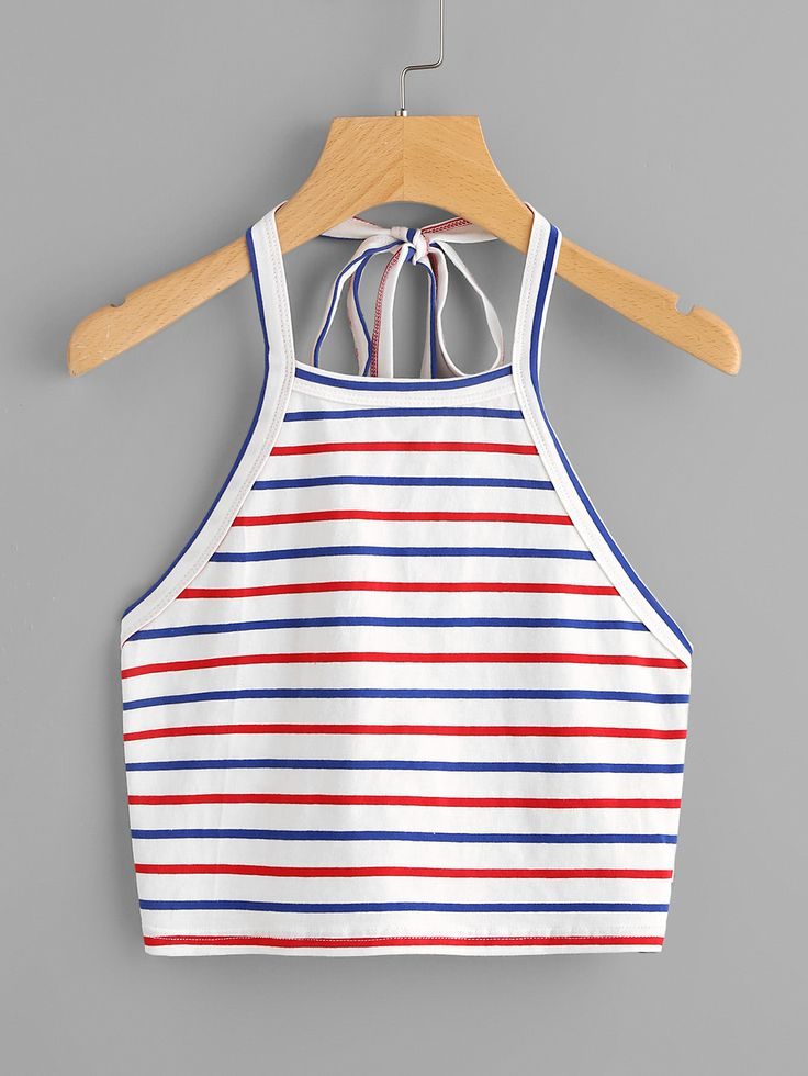 ¡Cómpralo ya!. Crop Self Tie Halter Top. Multi color Cotton Sexy Vacation Striped Halter Top Fabric has some stretch Spring Tank Tops & Camis. , topcorto, croptops, croptop, croptops, croptop, topcrop, topscrops, cropped, topbailarina, corto, camisolacorta, crop, croppedt-shirt, kurzestop, topcorto, topcourt, topcorto, cortos. Top corto de mujer de SheIn.