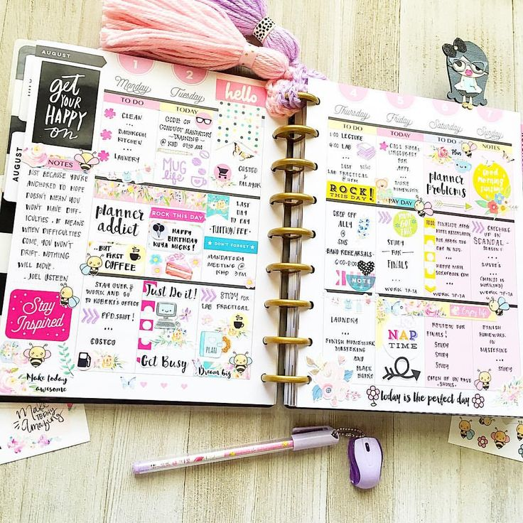 """217 Likes, 17 Comments - LadyBoss Ams (@my.happyplace_too) on Instagram: """"Full-Week spread - Get Your Happy On - #EmbraceTheDiscs •080716• . . . . . . #planner…"""""""