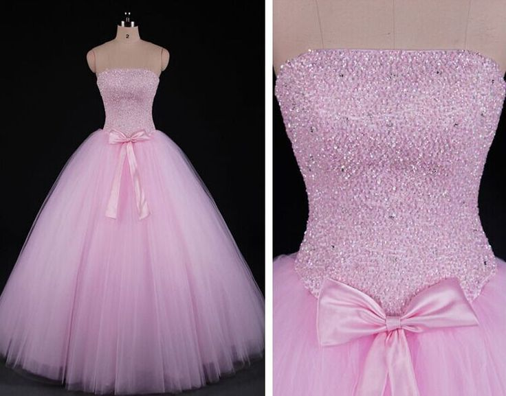 Charming Prom Dress,Strapless Long Prom Dress,Elegant Tulle Pink