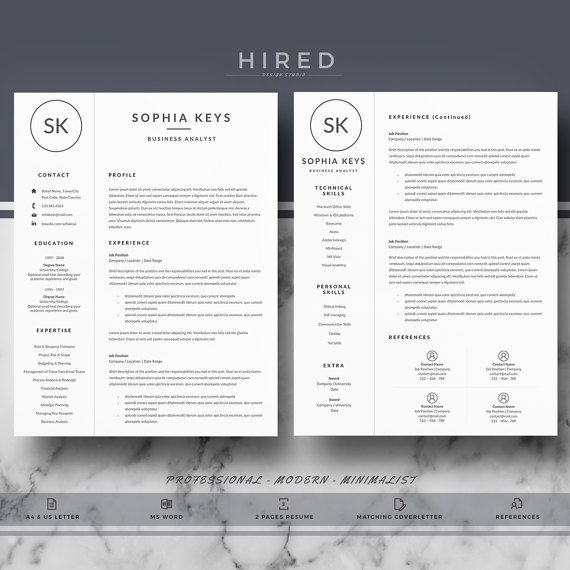 Professional & Modern Resume Template for Word: Sophia   - 100% Editable. - Instant Digital Download. - US Letter & A4 size format included. - Mac & PC Compatible using Ms Word.