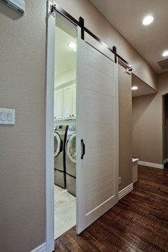 Laundry Room Design Ideas, Pictures, Remodels and Decor - rolling track for laundry door -- nicer looking than the hanging curtain there now!