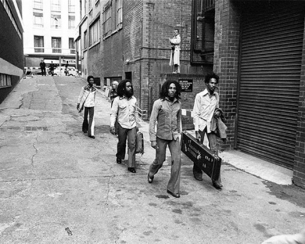 Bob Marley and the Wailers heading to the Odeon Theatre in Birmingham, England in 1975.