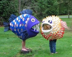 Love these fish costumes! Great DIYing. Find out how you can enjoy Halloween on our Tampa Bay/Gulf Beaches at http://paradisenewsfl.com/events/upcoming-events/october-2014/halloween-events.html