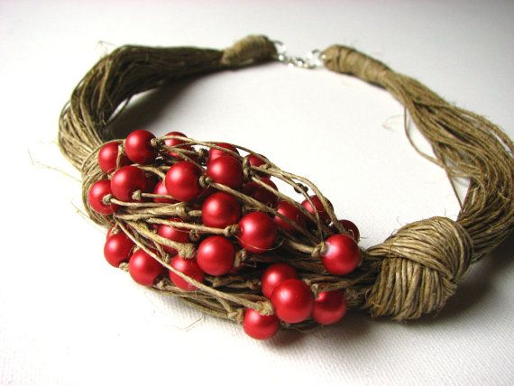 ROUGE-ORANGE perles collier lin par GreyHeartOfStone sur Etsy