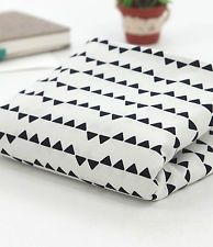 Black triangles 100% Cotton Remnant  fabric 110 x 22.5cm fabric off cut bla