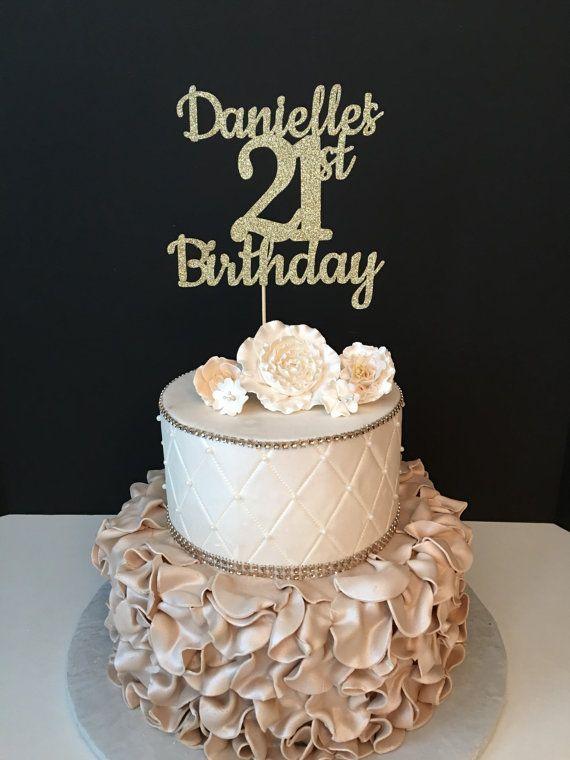 Any Name Amp Number Gold Glitter 21st Birthday Cake Topper