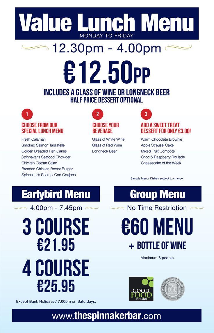 New Value Lunch Menu @ The Spinnaker Bar
