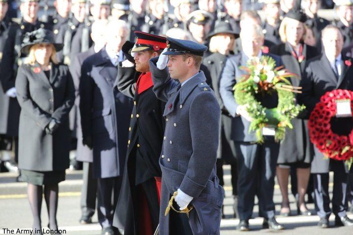 hrhduchesskate:  Remembrance Sunday, November 13, 2016-Duke of Cambridge and Prince Harry