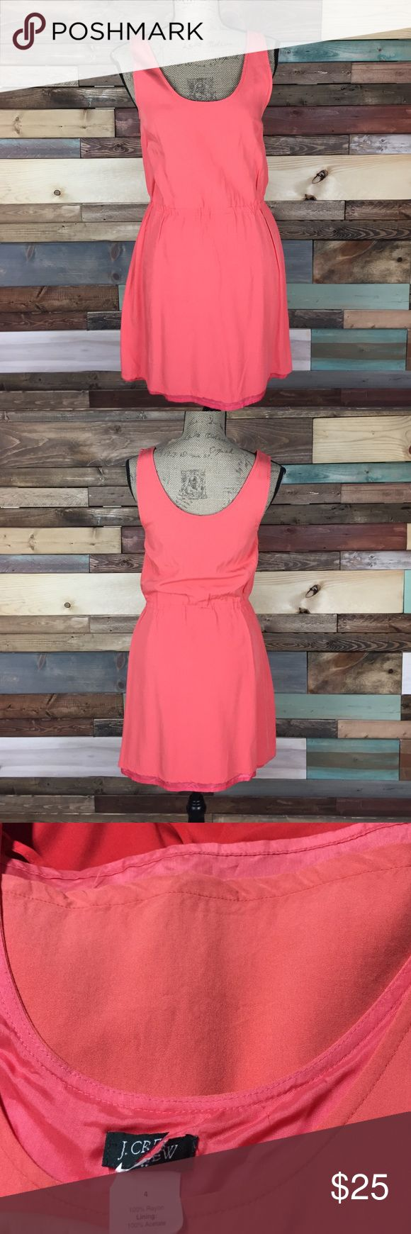 """J. Crew Coral Pink Sundress - 4 J. Crew Coral Pink Sundress - 4 // 100% Rayon, pink under layer is 100% acetate // Bust: 17"""" (laying flat) // Waist: 14""""  (laying flat) // Length: 34"""" J. Crew Dresses"""