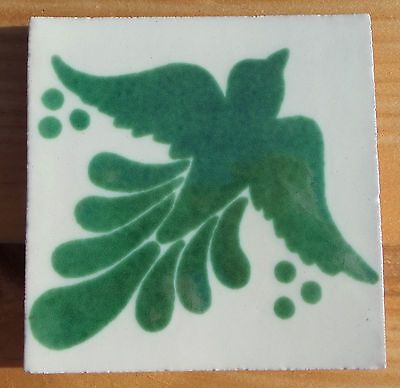 "10 Talavera Mexican 4"" TILE tiles pottery hand painted BIRD Doves Green white"