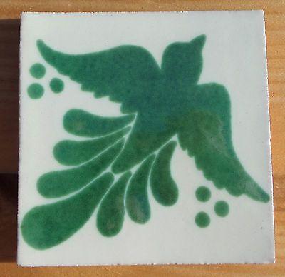 "10 Talavera Mexican 4"" TILE tiles pottery hand painted BIRD Doves Green white"