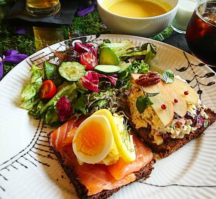 【NIcolai Bergmann NOMU】~東京 南青山~ ランチメニュー *スモーブローセット (サラダ・スープ・コーヒーor紅茶付き) #ニコライバーグマンノム #カフェ #スモーブロー #オープンサンド #デンマーク料理  #北欧料理 #ランチ #nicolaibergmannnomu #cafe #smørrebrød #smorrebrod #opensandwich #danishcuisine #lunch #prettymaids