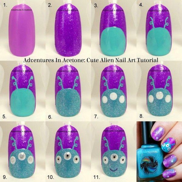 Simpáticas uñas con alienígenas - http://xn--decorandouas-jhb.com/simpaticas-unas-con-alienigenas/