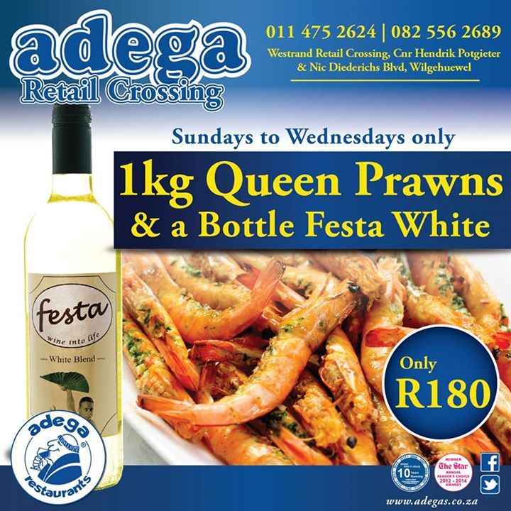 PRAWNS & WINE SPECIAL @ Adega Retail Crossing. 1Kg Queen Prawns & a bottle of Festa White for only R180. Sundays to Wednesdays ONLY.  #AdegaRestaurants #AdegaRetailCrossingSpecials #QueenPrawns https://www.facebook.com/AdegaRetailCrossing/photos/a.363677530340978.77891.363664573675607/998015520240506/?type=3&theater