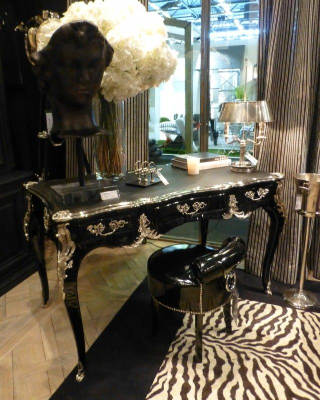 French European Writing Desk - Black and Silver