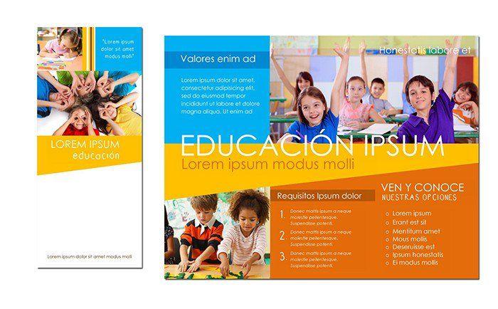 Educación,escuelas y actividades escolares -Plantilla para tríptico