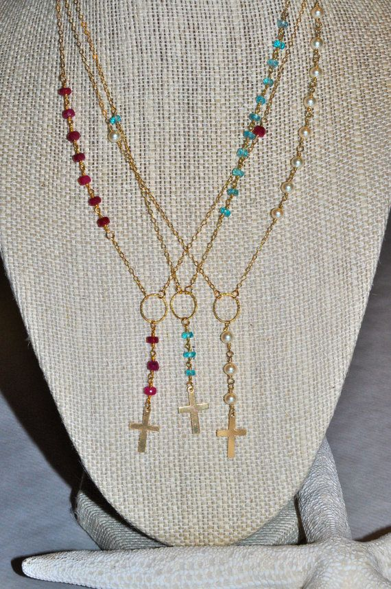 Ruby and gold rosary inspired necklace by HartsockDesigns.com