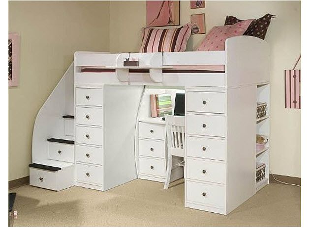 bunk beds desks | loft bed with desk pictured: Space Saver Loft T with 2 Chests, Desk ...
