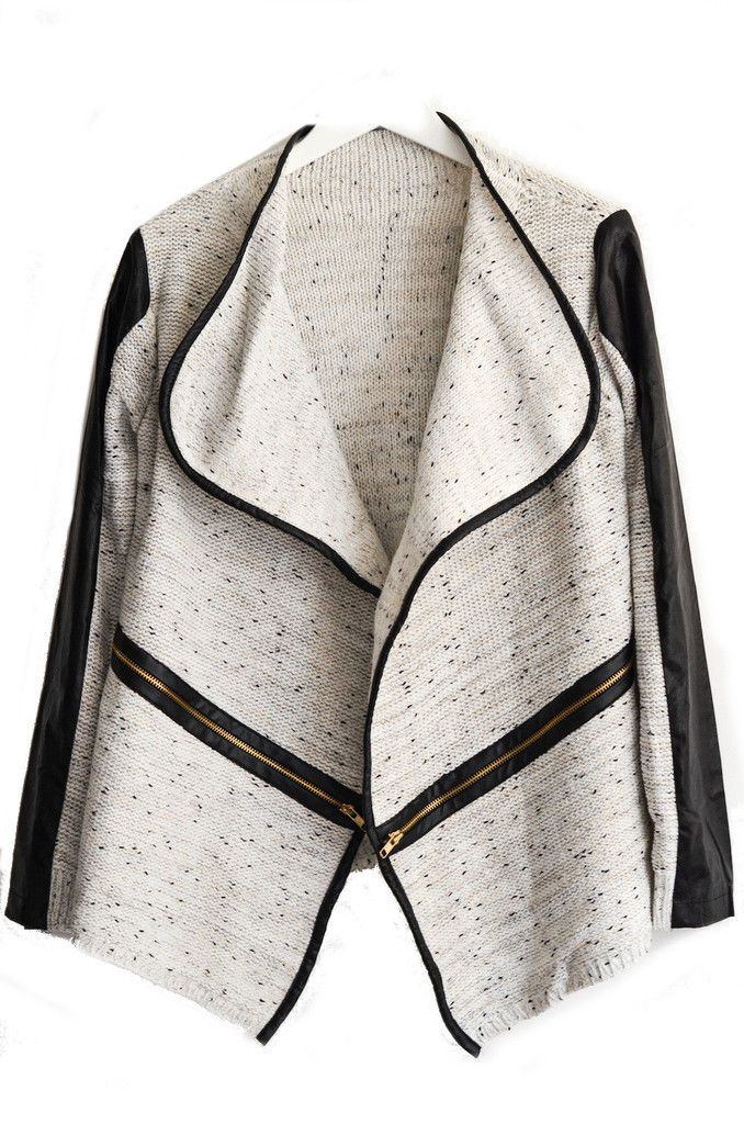 Goodnight Macaroon Lapel Collar Asymmetrical Gold Cream Mixed Knit PU Leather Trim Cardigan