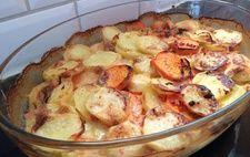 Potatisgratäng med sötpotatis och chili