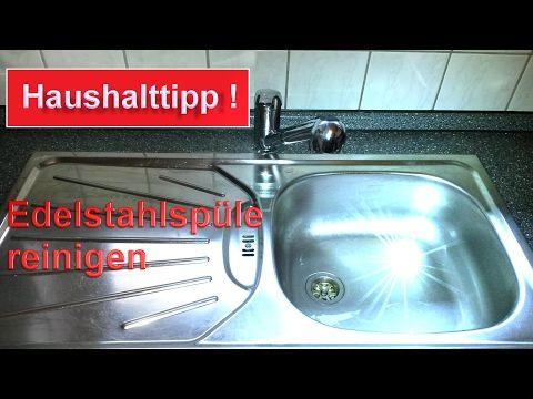 Edelstahl Spüle reinigen ohne Chemie / Spülbecken mit Hausmittel sauber machen - Haushalt Hacks - YouTube
