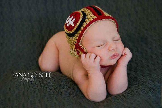 Crochet SF 49 ers ....Helmet & Diaper Cover .....Baby newborn photography prop.