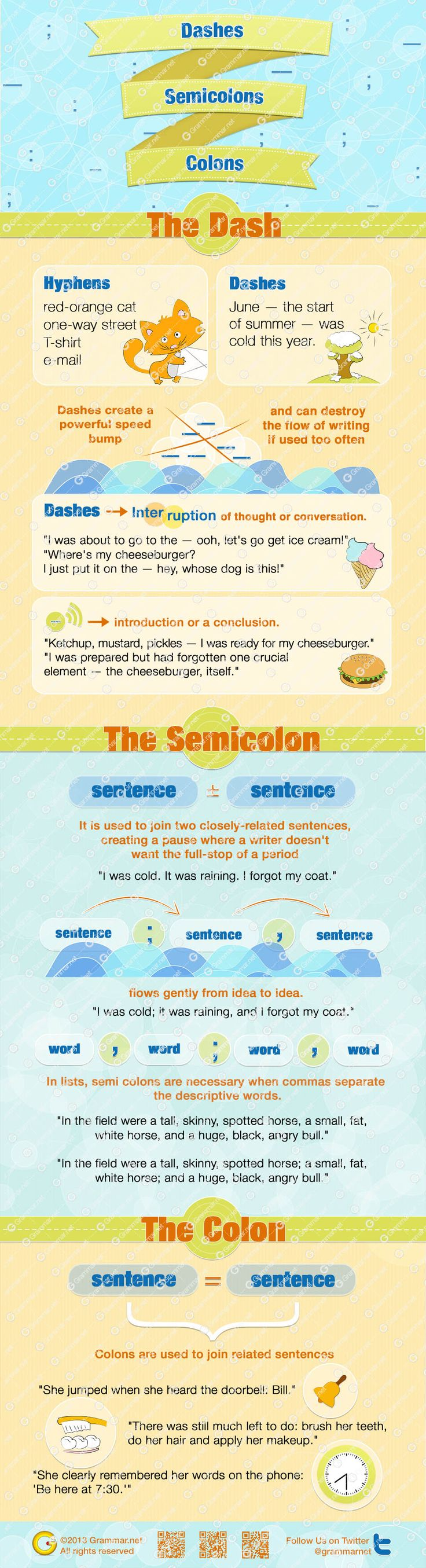Dashes Semicolons and Colons in English - Punctuation