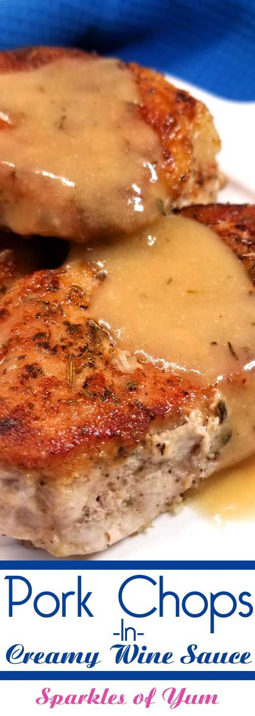 It only looks like we're getting fancy around here with these Pork Chops in Creamy Wine Sauce, but this dish is so quick and easy that anyone can make this incredibly delicious dinner in no time at all! #porkrecipe #datenight #winesauce via @sparklesofyum