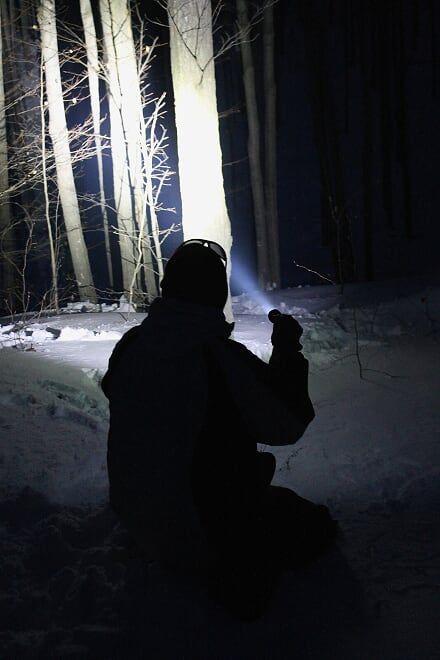 ManCamping Winter Camping Armytek Flashlight by Brad Roylance