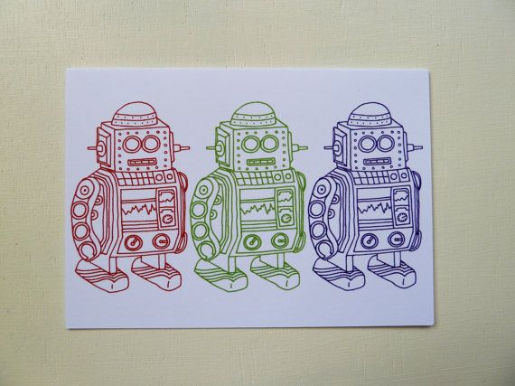 The 3 Robot Cards are designed and illustrated by Rachel Ali Hawkins. The cards are blank inside which means these cards can be used for birthdays, thank you cards and many other occasions.
