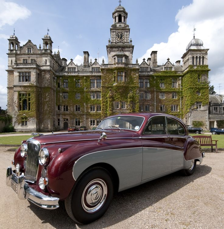Jaguar Mark VIII in front of Thoresby Hall in Budby, Nottinghamshire, England