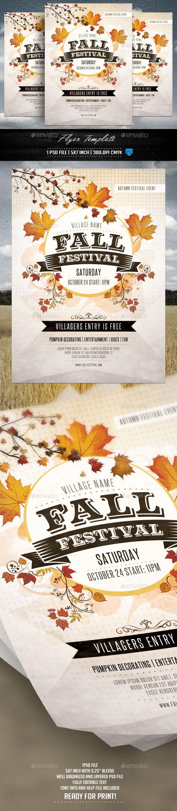 Fall Festival Flyer Template #design Download: http://graphicriver.net/item/fall-festival-flyer-template/12750913?ref=ksioks
