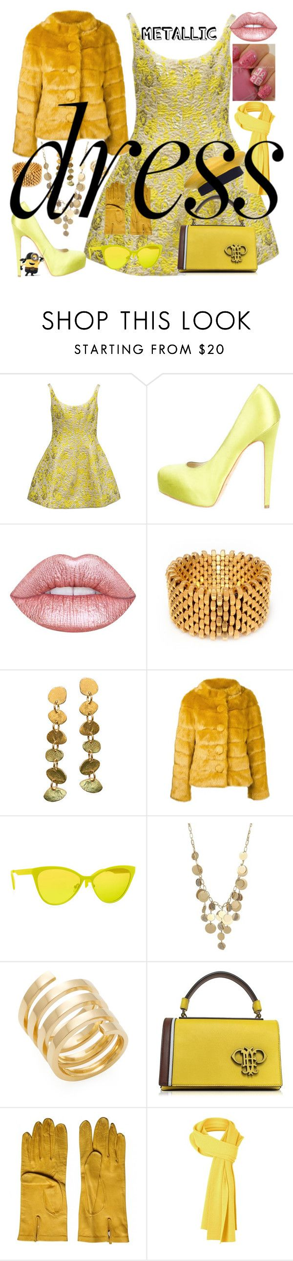 """PAINT IT BLACK ! metallic dress 2"" by kuropirate on Polyvore featuring Cynthia Rowley, Brian Atwood, Lime Crime, Alice Menter, Twin-Set, Italia Independent, Kenneth Cole, Jennifer Zeuner, Take-two and Emilio Pucci"