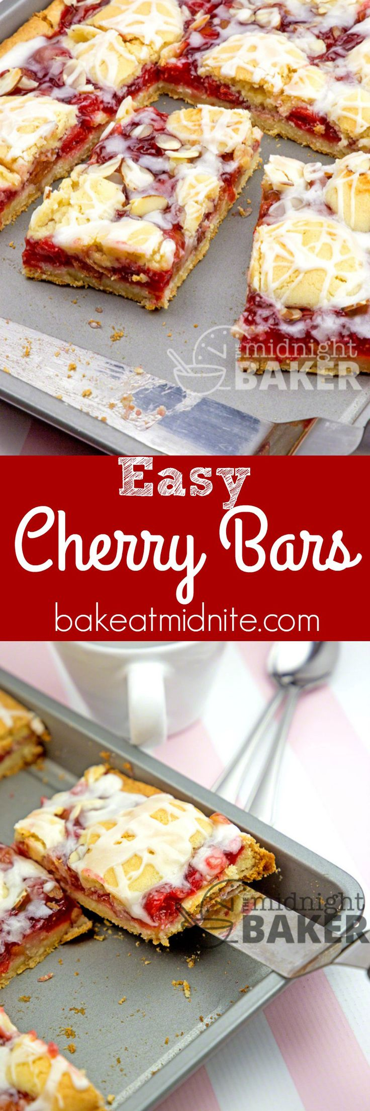 Soft cake bars loaded with cheery cherries! Easy to make and delicious with coffee, tea or milk.