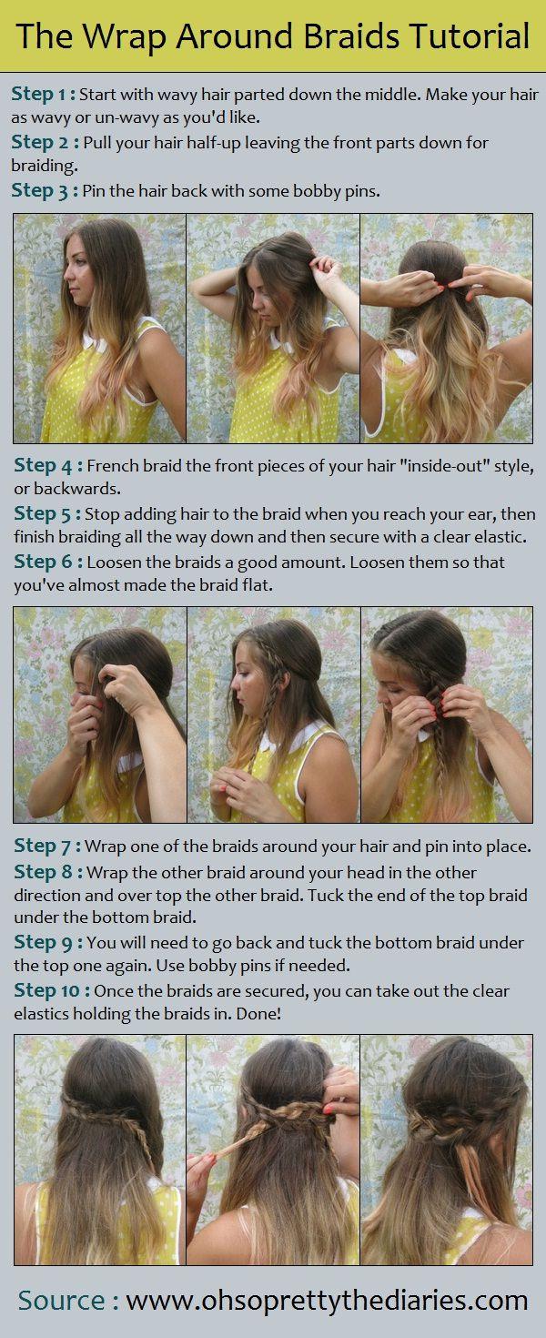 half up with wrap around braids