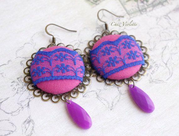 Royal Blue Fuchsia earrings Bright earrings Lace door chezviolette
