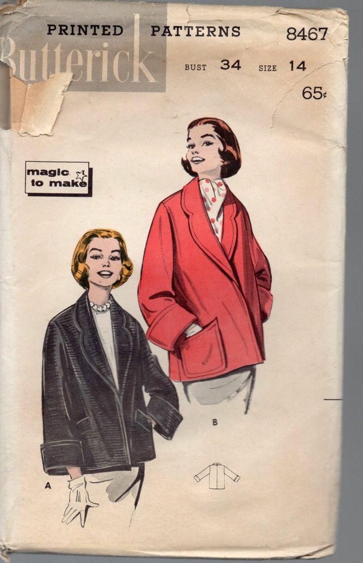 1950's Butterick 8467 Topper Jacket