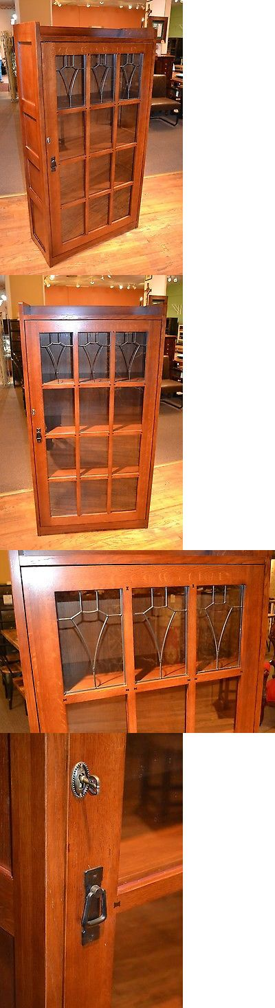 Sideboards and Buffets 183322: Mission Solid Oak Bookcase With Leaed Glass And A Lockable Door Craftsman Style -> BUY IT NOW ONLY: $875 on eBay!