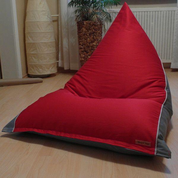 Sitzsäcke - Sitzsack * rot-grau * 80x120cm Handarbeit - ein Designerstück von Biene2014-Sabine bei DaWanda