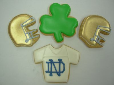 ND cookies - I want to know how they got the shiny gold frosting for the helmets