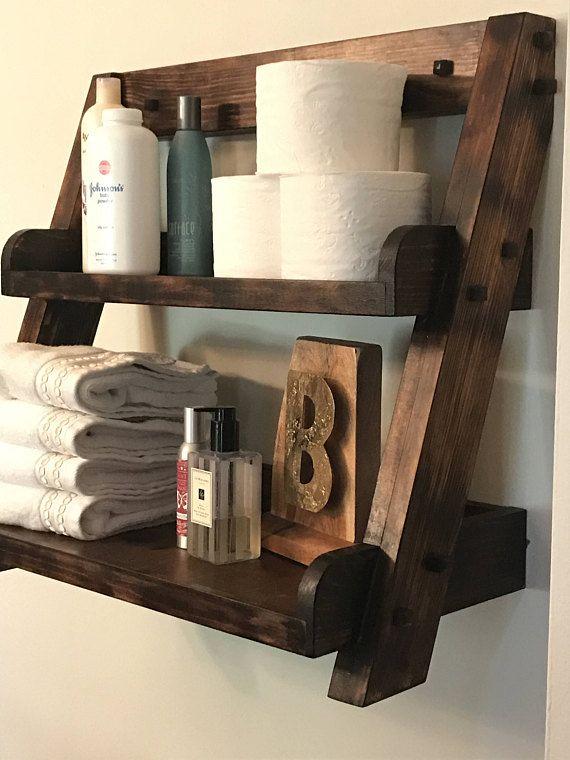 Hanging Ladder Shelf For Kitchen Bathroom Or Dorm Room Decoracion Rustica Para El Hogar Muebles De Bricolaje Y Madera Rustica Muebles