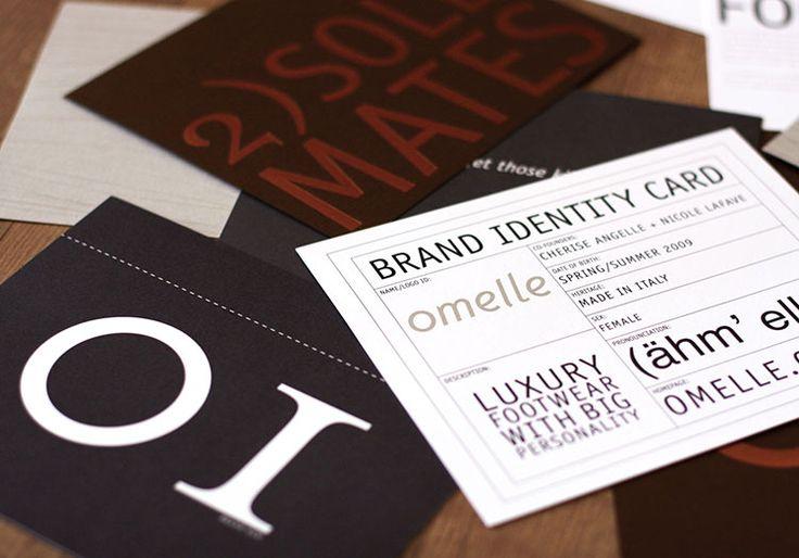 Omelle Luxury Footwear Brand Identity Logo Design, Stationery System Media Kit Look Book Design Custom Rubber Band