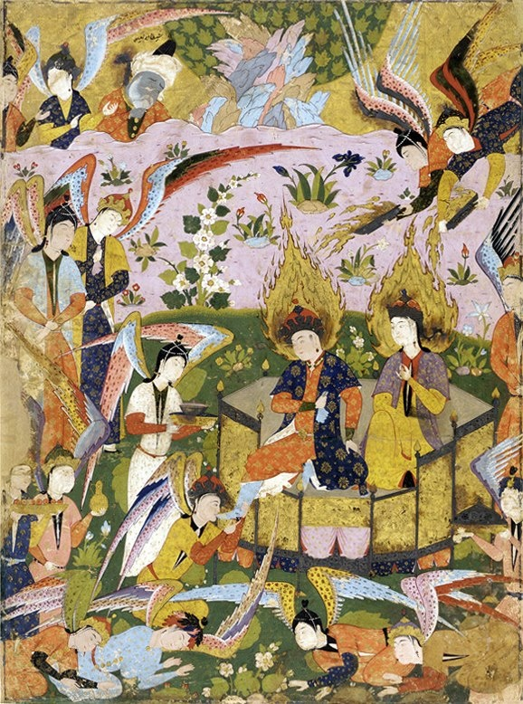 Folio from a Falnama (Book of omens) Angels bow before Adam and Eve in Paradise mid 1550s-early 1560s Safavid period Opaque watercolor and gold on paper H: 59.3 W: 44.5 cm Qazvin, Iran