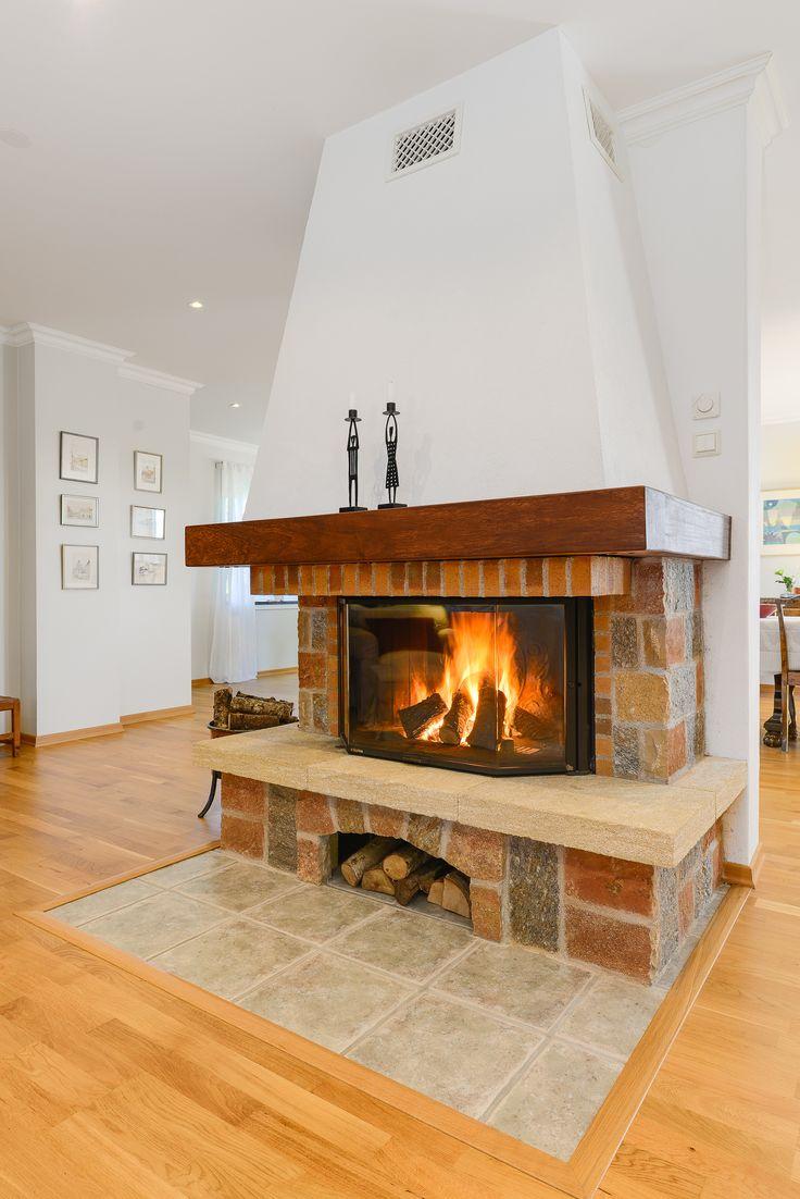öppen eldstad värmer hela huset