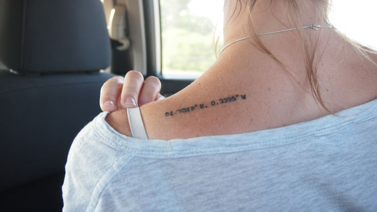 Have you had a travel tattoo? Here's one of Sarah's home town's longitude and latitude