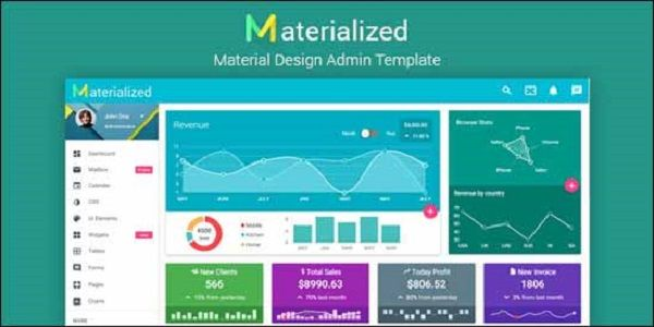 Materialize is a Material Design Admin Template is the superb responsive google material configuration motivated multipurpose administrator format.   Emerge has an enormous gathering of material configuration movement & gadgets, UI Elements, jQuery plugins and meets expectations flawlessly on all real web programs, tablets and telephones. Easy to understand, natural, and enjoyable to utilize.
