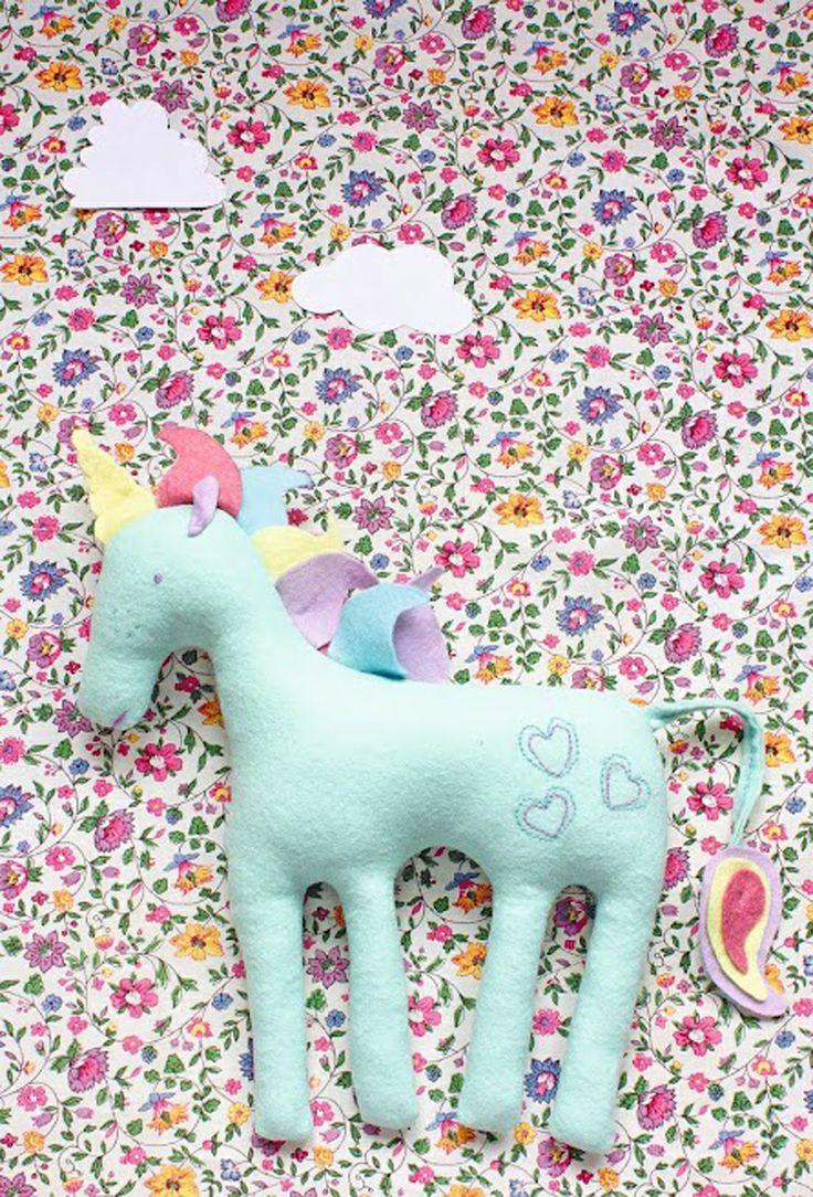 80s-inspired fabric unicorn project