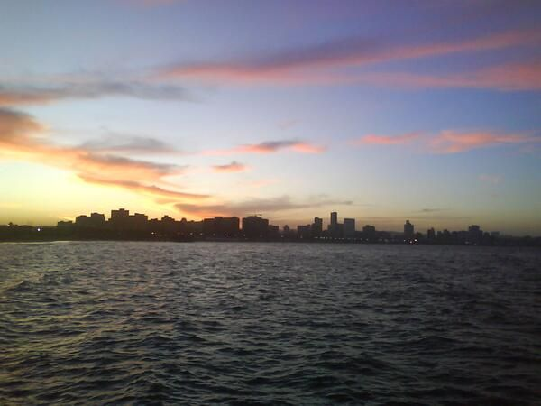 Durban City - sunset viewed from Northern Breakwater