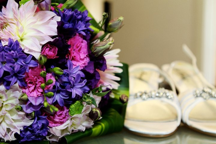Purple Bouquets - Bouquet of mauve dahlias, carnations, hyacinths & green chrysanthemums with happy plant leaves #weddings #purple #bouquets www.RedEarthFlowers.com.au