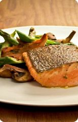 Roast salmon with asparagus, mushrooms and spinach